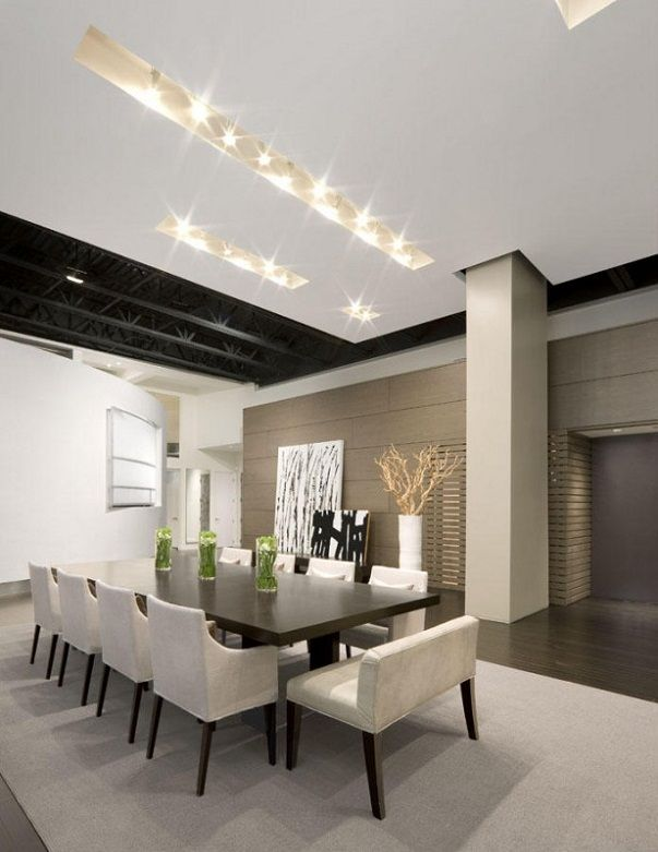 LOVE LONG DINING TABLES..GETS THE FAMILY ALL TOGETHER. Contemporary Home Design of Boston Loft House by Ruhl Walker