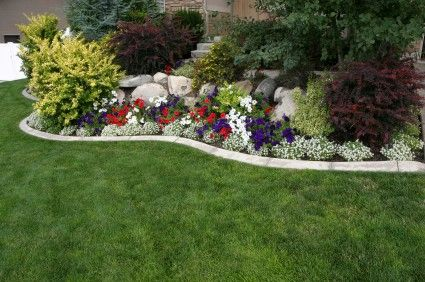 colorOn A Budget, White Flower, Landscapes Ideas, Front Yards, Gardens, Flower Beds, Retaining Wall, Backyards Landscapes, Yards Ideas