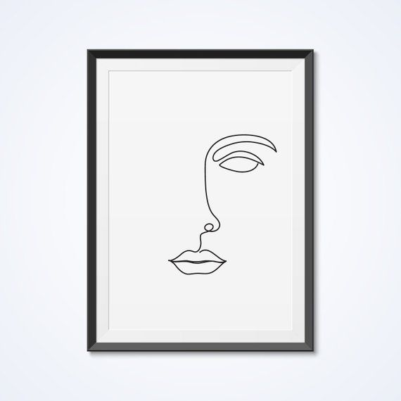 Abstract face, Single line drawing, Prntable wall art, Minimalist line art, Modern wall decor, One line drawing, Black and white print – Annamustermann