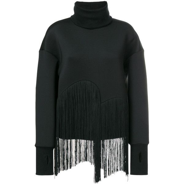 Ioana Ciolacu fringed high neck jumper (€495) ❤ liked on Polyvore featuring tops, sweaters, black, high neckline tops, jumper tops, fringe sweaters, jumpers sweaters and fringe top