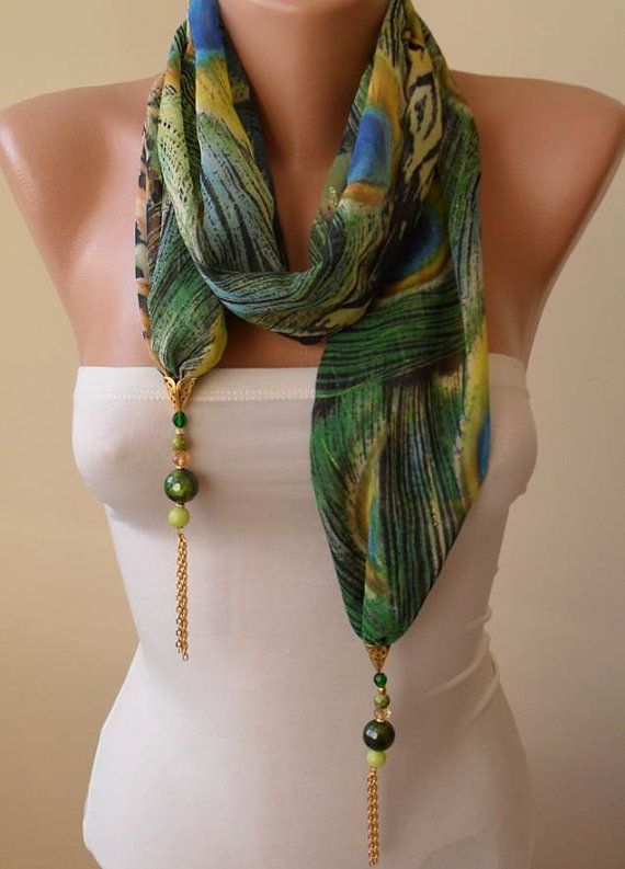 Christmas Gift - Jewelry Shawl Scarf Headband - Fabric with Golden Sequins - Beads and Chain - Peacock Shawl Scarf     Christmas Gift - Jewe...