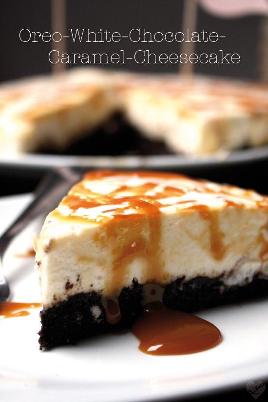 Oreo-Käsekuchen mit weißer Schokolade und Karamell (mit Quark)