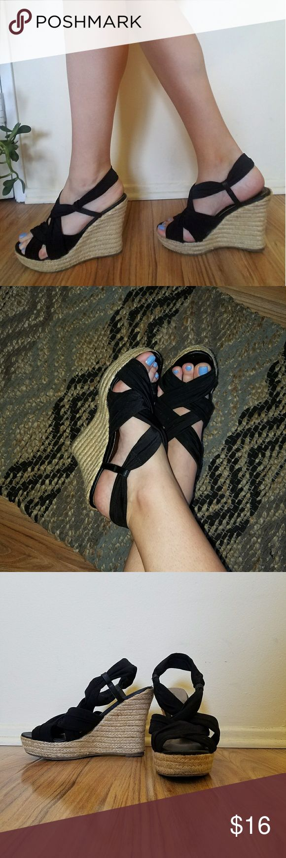 Nine West Poolside Summer Wedges -Most comfortable pair of wedges ever, so easy to walk in -These are made of swimsuit material and never hurt or pull or give me blisters  -Worn maybe 5x Nine West Shoes Wedges