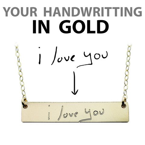 Custom Handwriting Necklace - Gold Name Plate Necklace – The Urban Smith