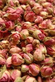 Dry rose petals and put in a glass container.