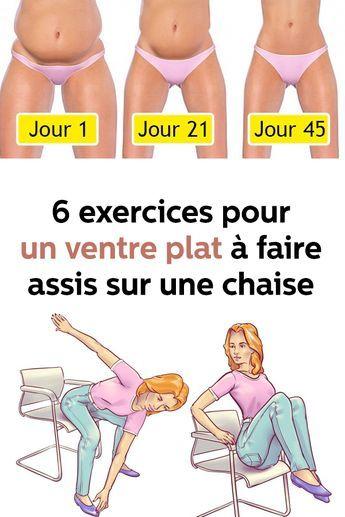 6 ejercicios para un vientre plano para hacer sentado en una silla.