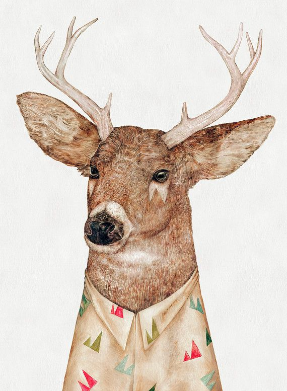 WHITE-TAILED DEER Fine Art Print Deer Illustration by AnimalCrew