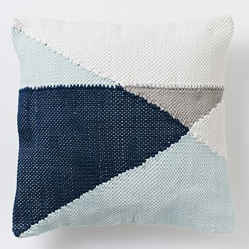 """Chindi Colorblock Pillow Cover - Pale Harbor #westelm - 20"""" - $54 (less 40% is $32.40) - insert is $16 (less 40% is $9.60)"""