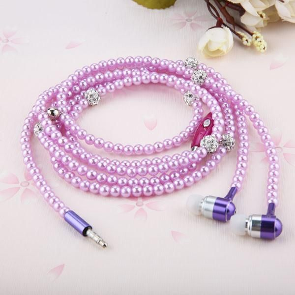 Fashion Bling Diamond Pearl Necklace Chain Earphone 3.5mm Plug In-ear Hi-Fi Wired Stereo headset With Mic For iphone Smart Phone