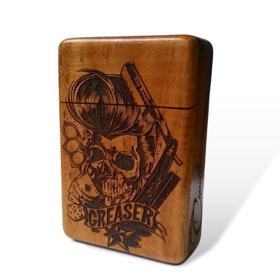 Greaser Skull Java Teak wood Cigarette Case
