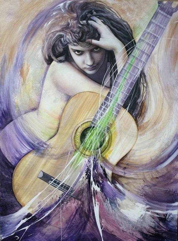 guitar woman by raipun - Paintings by Cristiane Vleugels  <3 <3