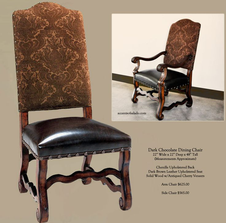 Tuscan Dining Room Chairs In Dark Chocolate Upholstery With A Aged Leather Seat Nail Head Trim Makes Them Perfect For And Hacienda Style