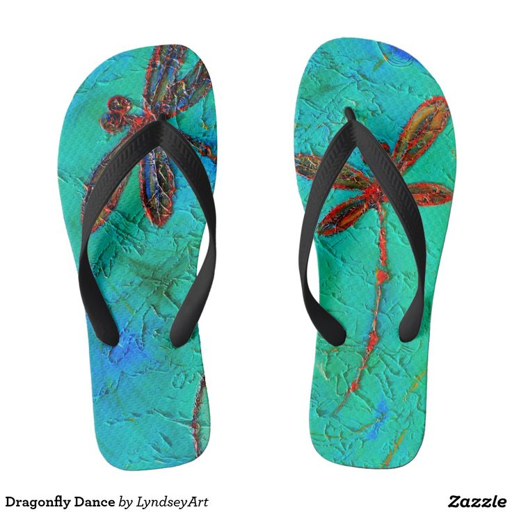 Dragonfly Dance Gorgeous red and blue dragonflies on a mottled turquoise green and blue background. From my original dragonfly artworks. LyndseyART #dragonfly #thongs #jandals #flipflops #cute #summer