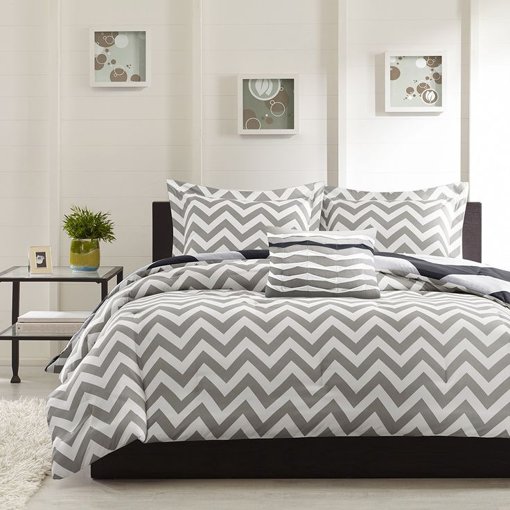 This grey and white chevron REVERSES to black and white stripes that are thicker.  CLICK HERE TO SEE! #chevron #stripes #bedding