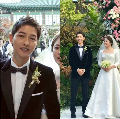 Song joong ki Slim Fit 2018 Groom Tuxedos Wedding Suits Custom Made Groomsmen Best Man Prom Suits Black Pants (Jacket+Pants+Bow Tie)