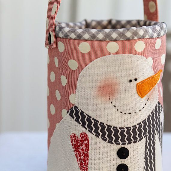 Snowman Pail- Download Pattern for purchase from Sweetwater Quilts