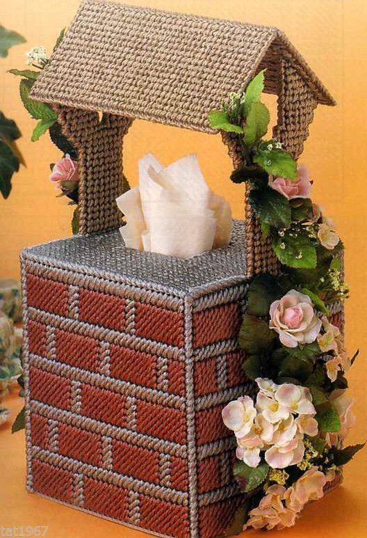 Wishing Well TISSUE COVER  plastic canvas pattern/directions