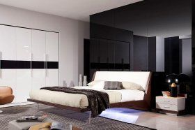 Exotic Leather Platform and Headboard Bed with Lights