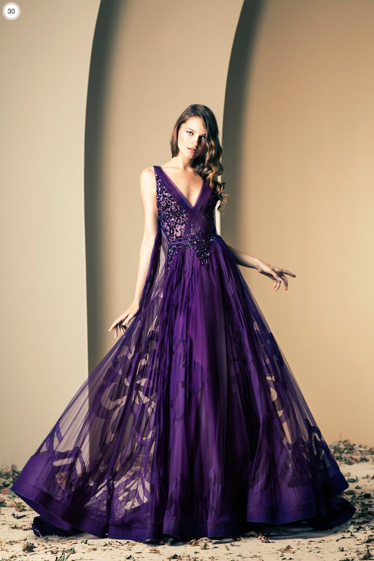 Beautiful!!!  Ziad Nekad Haute Couture Fall-Winter 2013-2014 - Dark Purple Gown…