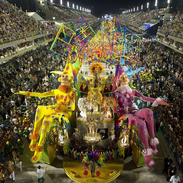 Revellers from Grande Rio samba school perform during the second night of Carnival parade at the Sambadrome in Rio de Janeiro
