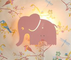 Roommate Elephant Pastell Rosa Pink Wall Lamp Children's room Girl's room