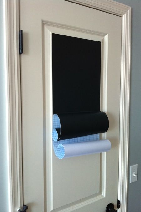 Don't want to use chalkboard paint for the whole door? Michael's sells rolls of chalkboard stick-on paper!