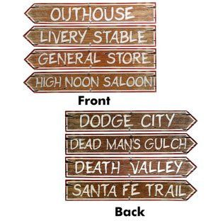 """The Western Sign Cutouts come in packs of four and are all 24"""" x 4"""". These signs are fun because they are double sided, and have different sayings on each side."""