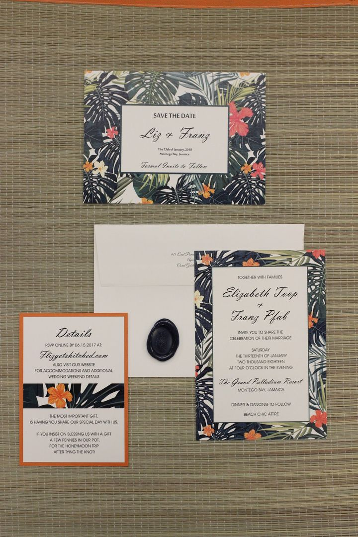 Elegant yet fun Hawaiian themed wedding invitation