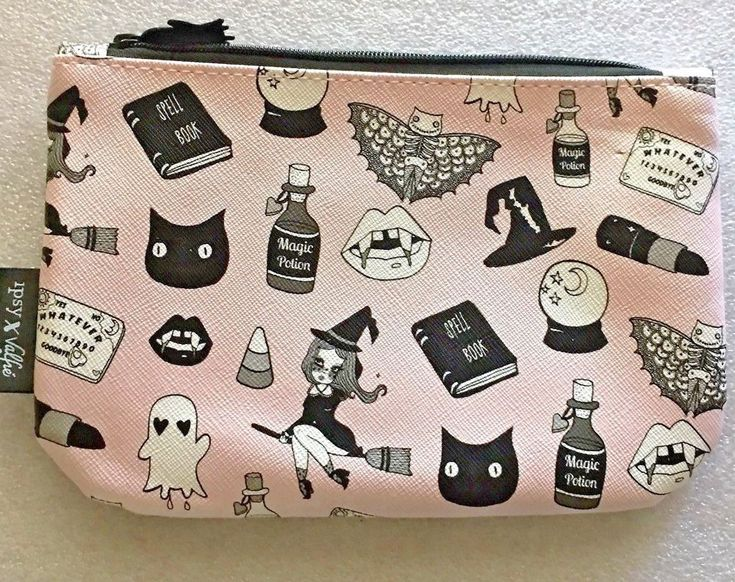 "ipsy X Valfie Cosmetic bag 7 1/2"" X 5"" Witch Ghost Black Cat Vampire Halloween #Ipsy"