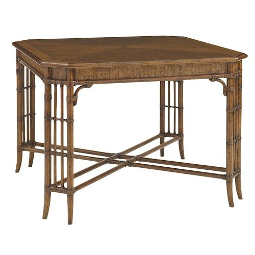 Tommy Bahama Home Bali Hai Tropical Tarpon Cove Game Table with Leather-Wrapped…