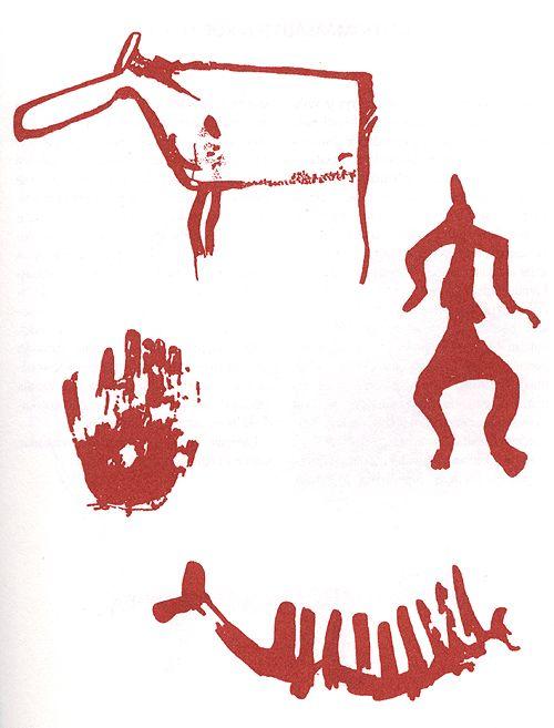 Maamme käytetyimmät kuva-aiheet ovat: hirvieläin (Astuvansalmi) ihminen, kämmenpainama ja venekuva(Luumäki, Venäinniemi), jossa yhdistyy vene ja sarviaihe. Usein samanaiheiset kuvat esitetään pareittain: veneet päällekkäin tai peräkkäin, ihmiset suuren ja pienen hahmon muodostamana parina. Kuvat: Pekka Kivikäs