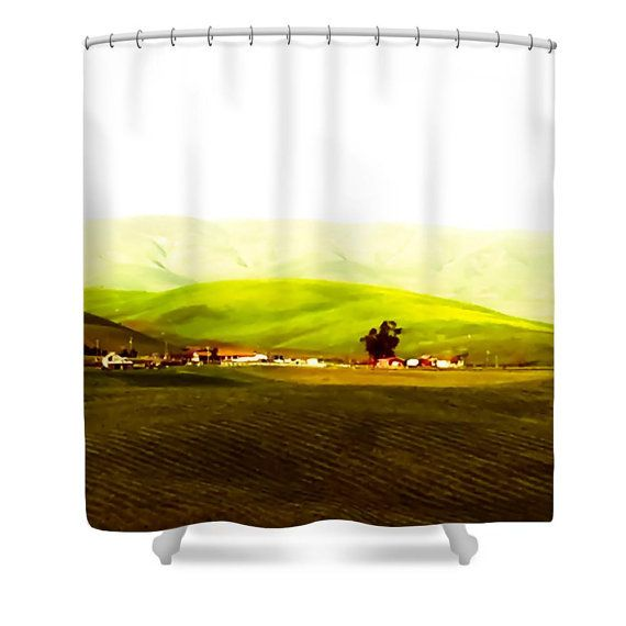 Country Farm Shower CurtainGreen Hills Red Barn DesignBathroom Curtain Bathroom DecorAccessoriesDesigner