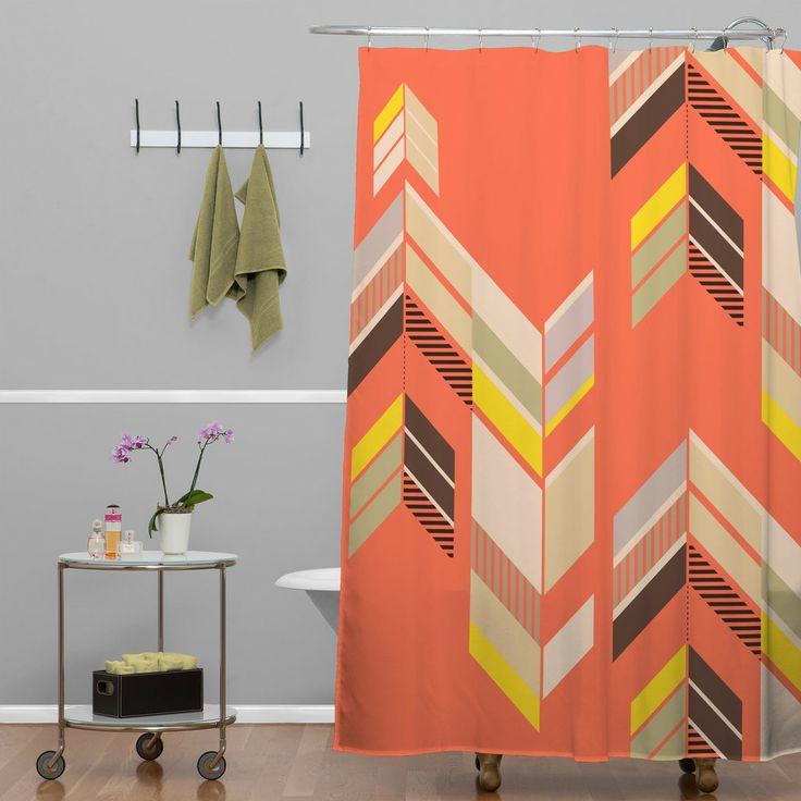 Gabi Chevron Coral Shower Curtain | DENY Designs Home Accessories