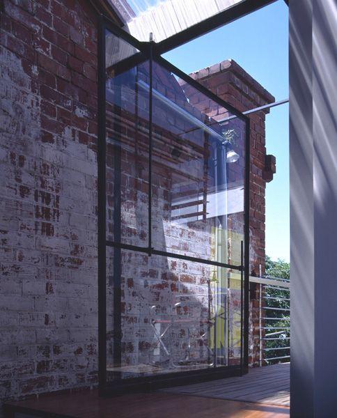 Richmond Warehouse - Shelley Penn Architect. Steel framed glass door