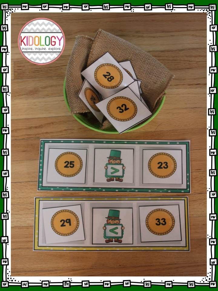 St. Patrick's Themed Math Activity.  Students compare numbers 1-100! $