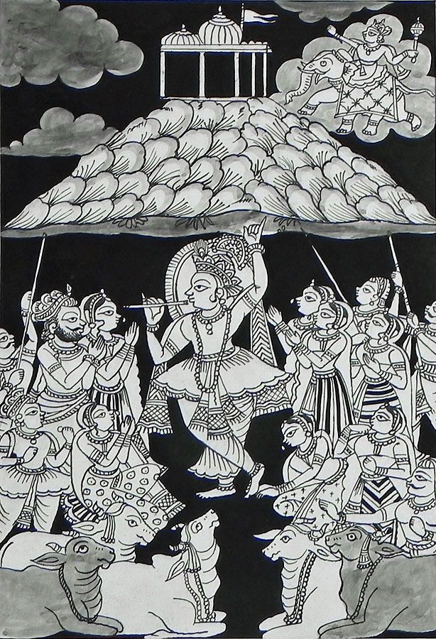 Krishna Holding Giri Govardhan (Phad Painting on Cloth - Unframed))