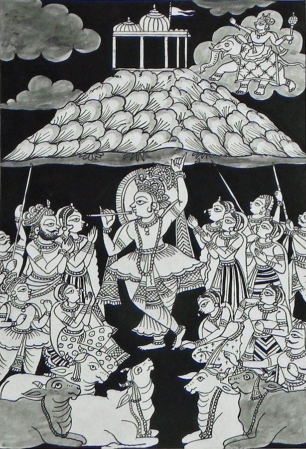 Krishna Holding Giri Govardhan (Phad Painting on Cloth - Unframed))