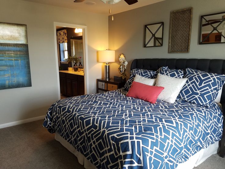 Comfy bedroom in this Meritage Home in the Meadows of Shadow Creek addition in Buda Texas