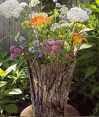 A tree bark vase