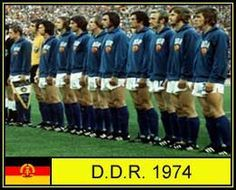 East Germany team line up at the 1974 World Cup Finals.