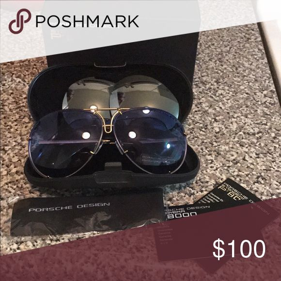Name brand sunglasses What we have here are porshe design sunglasses with  a gold frame and blue lens also come with changing lens (silver in color ) carrying case box dust cloth and cards reassuring authenticity brand new item never used Porsche Design Accessories Sunglasses