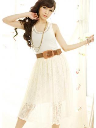 Elastic Waist Lace Midi Skirt