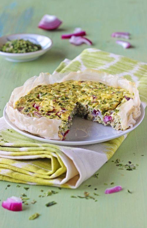 Quiche sans gluten à la feuille de riz   ...  RECETTES VÉGÉTARIENNES ... http://www.cuisineenbandouliere.com/recettes/recettessalees/plats-vegetariens-complets/
