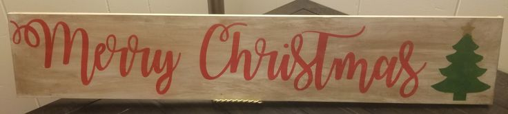 """This Merry Christmas sign is the perfect addition to any home during the holiday season. Upon ordering, it will come with two saw tooth hangers that are not attached. The sign is stained, painted in white, distressed, painted in red cursive font, and then sealed. The measurements are 5.5"""" in height and 30"""" in length.   **Please note that each sign is handmade and could have imperfections, so expect slight variation in each piece. Also, the sign is sealed, but I would not recommend allowing…"""