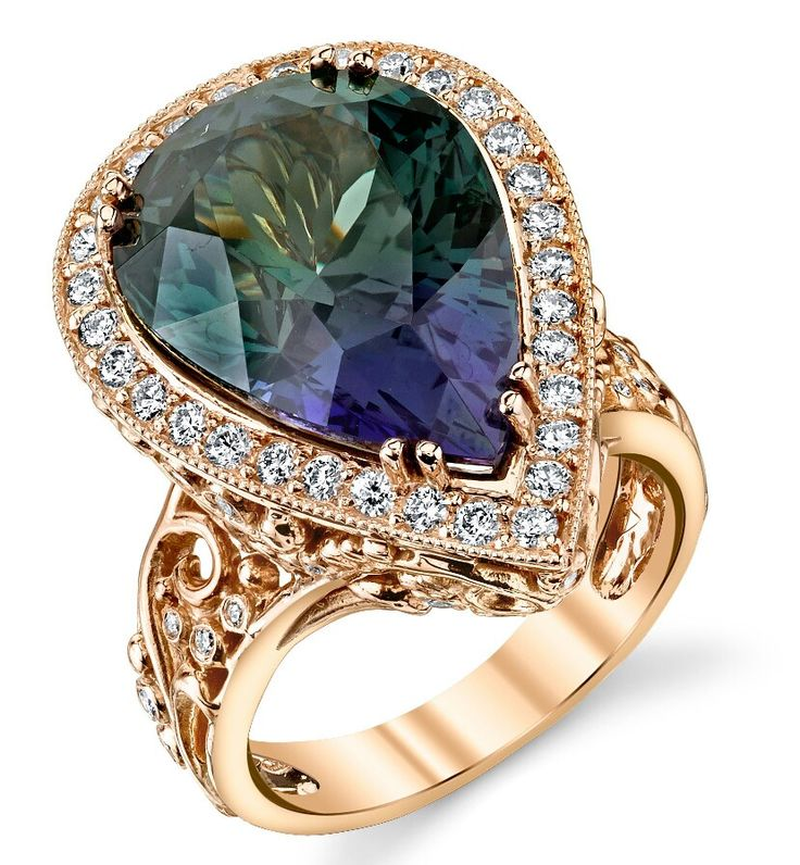 Dallas Prince Design ~ Twilight ring in 18k rose gold with 14.72cts unheated tanzanite and diamonds