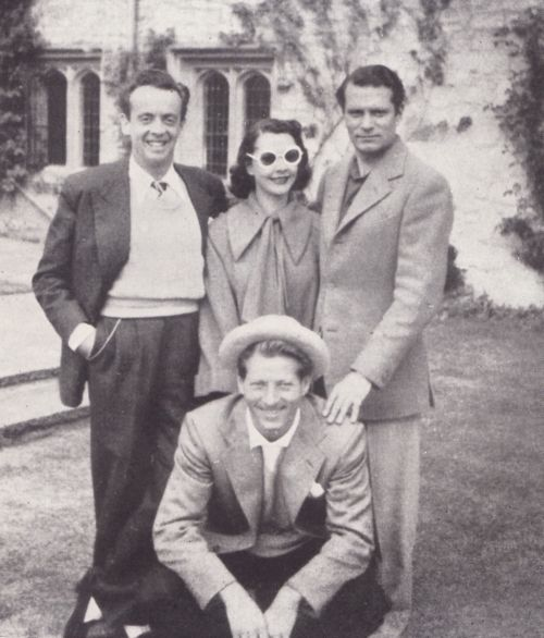 In the grounds of Notley about 1950. Laurence Olivier, Vivien Leigh, Danny Kaye, and Bobby Helpmann.