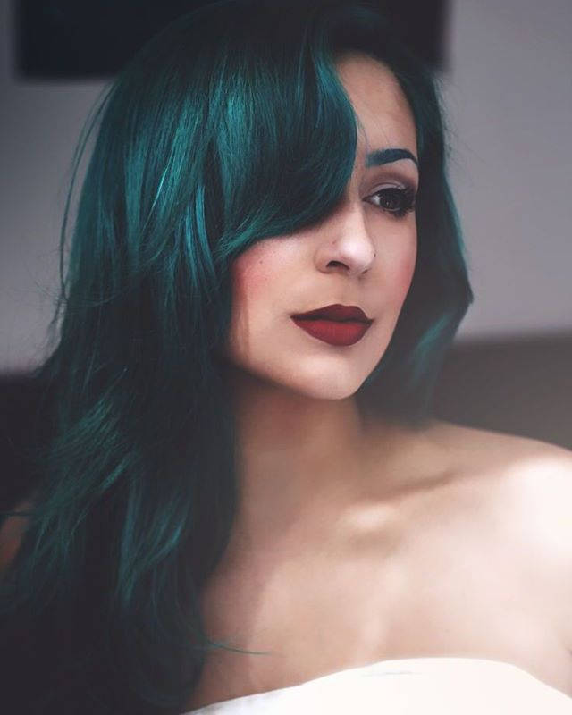 "Manic Panic UK (@manicpanic_uk) • Color ""Mermaid"" over dark hair"