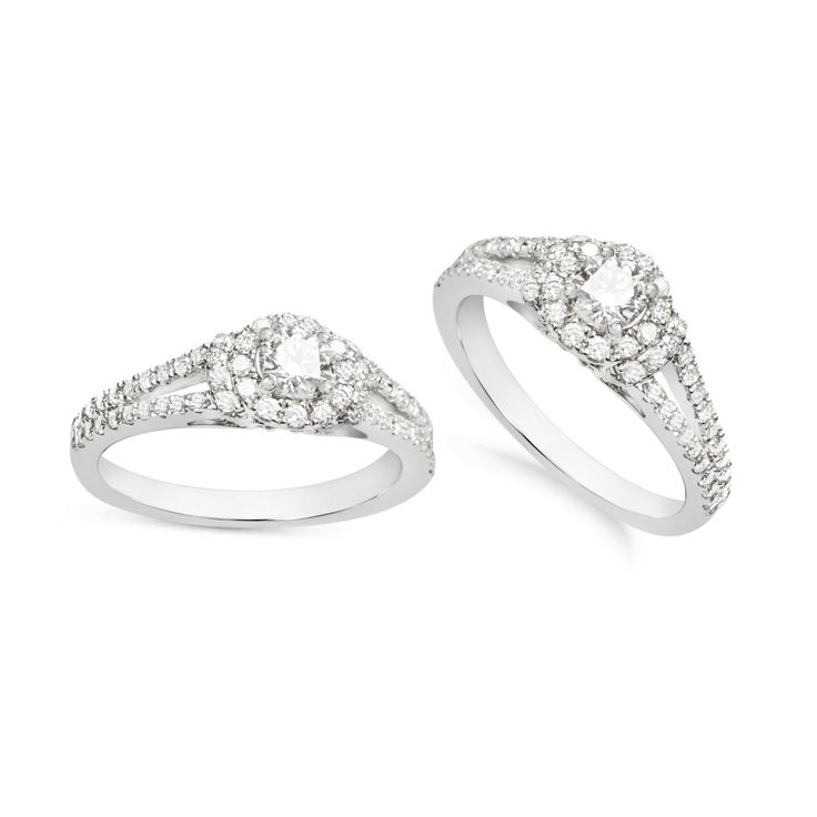 1 CT. T.W. Round Brilliant with Halo and Split Shoulders, set in 18ct White Gold