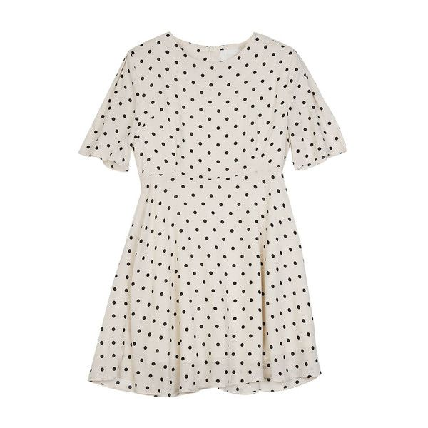 Japanese Style Polka Dot Short Sleeve Back Zip White Summer Dress ❤ liked on Polyvore featuring dresses, zipper back dress, summery dresses, white polka dot dress, polka dot dress and white short sleeve dress