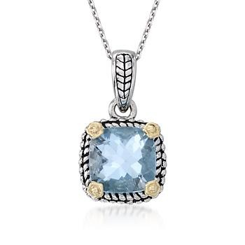 2.45 Carat Blue Topaz Necklace in Sterling Silver and 14kt Yellow Gold. 18""